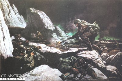 DHM1001.  Sgt Mackay by Peter Archer. <p>Depicting the heroic action of Sgt Mackay VC during the taking of Mount Longdon, during the Falklands war. <p> There are only 80 copies remaining of this print, printed by the regiment in 1982.  The condition of these prints are slightly marked,  but these are very scarce prints.  <b><p>Restricted edition print<p> Image size 23 inches x 15 inches (58cm x 38cm)