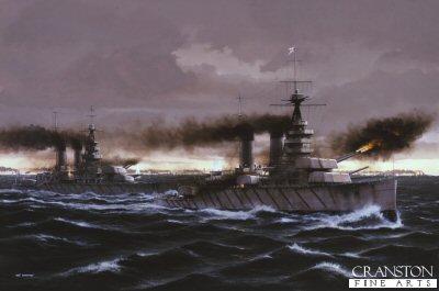 HMS Lion at the Battle of Jutland by Ivan Berryman.
