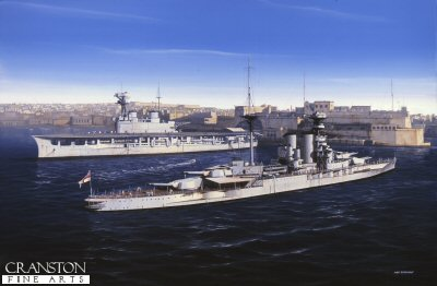 HMS Barham with HMS Eagle in Valetta Harbour in Malta during the 1930s by Ivan Berryman.