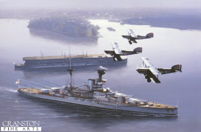 DHM1010.  HMS Furious with HMS Revenge by Ivan Berryman. <p>Grand Harbour, Malta, April 1932. The R-Class battleship HMS Revenge slips majestically past the carrier HMS Furious as she lies at anchor as three of her Fairey IIIFs fly overhead on a routine training sortie. <b><p> Signed limited editiion of 1150 prints. <p>  Image size 25 inches x 15 inches (64cm x 38cm)