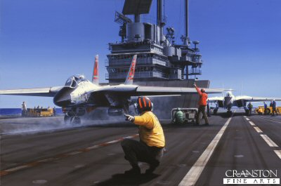 DHM1019.  USS Forrestal by Ivan Berryman. <p> USS Forrestal in preparation to launch an F14 Tomcat while in the Mediterranean , 1991, on her 21st and final operational deployment. <b><p> Signed limited edition of 1150 prints. <p> Image size 25 inches x 15 inches (64cm x 31cm)