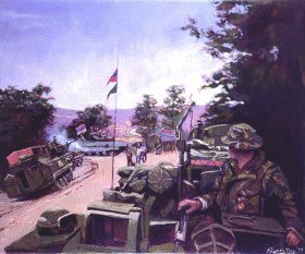 DHM1020.  Penants Flying by Francis Terry. <p>D-Squadron Household cavalry regiment, leading KFORs advance into Kosovo, monitor the Yugoslav Armys withdrawal, Luzane, 14th June 1999.<b><p> Open edition of 550 prints, published on behalf of the unit. <p> Image size 25 inches x 17 inches (64cm x 43cm)