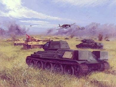 P1022.  Clash of Steel, Prokhorovka, Kursk, 12th July 1943 by David Pentland. <p>The battle for Prokhorovka marked the high water mark of the German southern drive for Kursk. At the apex of the thrust were the 14 tiger tanks of the 13 Heavy Tank Company, 1st SS Panzer Division Liebstandarte, led by Michael Wittman. Their advance was eventually thwarted, however, by the epic charge of the Soviet 29th Guards Tank Corps, as part of 5th Guards Tank Armys furious counter attack against the SS Tank Corps.<b><p>Postcard<p> Postcard size 6 inches x 4 inches (15cm x 10cm)