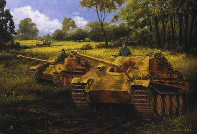 DHM1027. Debut at Caumont, Normandy, 30th July 1944 by David Pentland. <p> Jagdpanthers of 654 heavy Tank Battalion engage 6th Guards Tank Brigade Churchills. <b><p> Signed limited edition of 1150 prints.  <p>Image size 25 inches x 16.5 inches (64cm x 42cm)