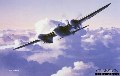 DHM1031. A Moments Peace by Ivan Berryman. <p>A De Havilland Mosquito patrols high above the clouds.  This versatile all-wooden aircraft first flew on the 25th of November 1940.  This aircraft was used in a wide variety of roles, including as a fighter-bomber and as a Pathfinder for bombers.<b><p>Signed limited edition of 150 prints.  <p>Image size 12 inches x 8 inches (31cm x 20cm)