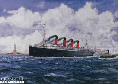 DHM1045.  The Lusitania by Robert Barbour. <p>Cunard liner RMS Lusitania leaves New York outward bound for Liverpool just before the First World War. Sadly on 7th May 1915 she was torpedoed by the German submarine U-20 and sank within 20 minutes with the loss of 1,198 lives. <b><p> Signed limited edition of 1150 prints. <p> Image size 17 inches x 13 inches (43cm x 33cm)