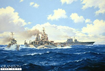 DHM1047.  USS Baltimore and Saratoga in the Pacific by Anthony Saunders. <p> In February 1944, USS Baltimore and Saratoga make up part of the formidable Task Force 58, forcing their way through the central pacific to attack the Japanese bases in the Marshal Islands in support of Operation Flintlock. <p><b>Last 9 prints available.</b><b><p> Signed limited edition of 1100 prints.  <p>Image size 25 inches x 15 inches (64cm x 38cm)