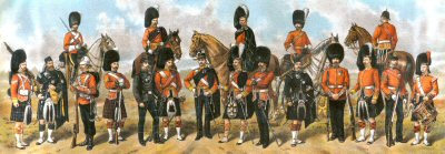 DHM105.  Scots Regiments of the British Army by Richard Simkin. <p>Seaforth Highlanders, Royal Scots, Queens Own Cameron Highlanders, Cameronians, Black Watch, Highland Light Infantry, Argyll & Sutherland Highlanders, Royal Scots Fusiliers, Scots Guards, Gordon Highlanders, Kings Own Scottish Borderers.  <b><p> Open edition print. <p> Image size 23 inches x 10 inches (58cm x 25cm)