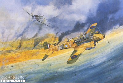 DHM1074.  Improbable Victory by Tim Fisher. <p>1st June 1940 - <i>Pete</i> Peters fights off an overwhelming attack over Dunkirk and destroys three fighters.  Anson MKV flown by pilot officer Phillip Peters was leading a patrol of three Ansons of No.500 Royal Auxiliary Air Force Squadron over Dunkirk at the time the British Expeditionary Force was evacuating from the beaches.  He was flying at around 50ft when his mid upper gunner reported that nine Bf109s were attacking. Dropping to wave-top height the slow obsolescent twin engined aircraft tried to shake off their pursuers.  Two planes were severely damaged and Peters sent them home, leaving his own aircraft at the mercy of the enemy fighters.  It was at this point that Peters was grateful for his &#39;secret weapons&#39;.  In addition to the Anson&#39;s nose gun and mid upper turret, guns had been fitted projecting out of the sides of the aircraft&#39;s long &#39;greenhouse&#39; cabin. The extra guns were manned by the co-pilot and wireless operator. By throttling back and executing a number of skid turns Peters was able to out manoeuvre the enemy and allow his crew to fire on the attackers.  The first Bf109 was finished off with the nose gun as it did a stall turn in front off the aircraft. The second was shot down into the sea.  A third attacker sustained heavy damage and turned tail with the other pursuers.  Peters set course for Detling.  The news of the battle went on ahead of his arrival and he was greeted by applause and cheering of the squadron personnel.  When the aircraft was inspected, only one bullet hole was found. It wasn&#39;t until later when he had his parachute repacked that another armour piercing bullet was found lodged in the silk.  For the attack and morale boosting effect for the rest of the squadron, Peters was awarded the DFC.  The remaining crew, Sergeant Spencer, Corporal Smith, Leading Aircraftsman Dillnutt and Leading Aircraftsman Cunningham all received the Distinguished Flying Medal.<b><p> Signed limited edition of 500 prints.<p>  Image size 20 inches x 14 inches (51cm x 36cm)