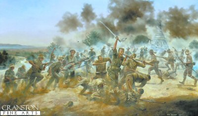 Lieutenant George Cairns VC, at the Battle of Pagoda Hill, Burma 13th March 1944 by David Rowlands.