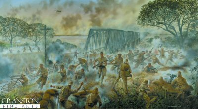 The 1st Battalion Duke of Wellingtons Regiment at the Battle of Sittang Bridge, Burma, February 1942 by David Rowlands.