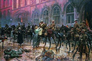 DHM1082. The 5th Lancers Re-enter Mons, November 1918 by Richard Caton Woodville. <p>The 5th Lancers (attached to the Canadian Corps) were the first British troops to re-enter Mons, just as they had been the last to leave Mons in August 1914. Very few of the troopers who left Mons in 1914 were there to re-enter in 1918. <b><p> Open edition print.<p> Image size 25 inches x 15 inches (64cm x 38cm)