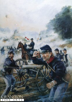 DHM1084.  Union Artillery at the Battle of Malvern Hill., July 1862 by Chris Collingwood. <p>On July 1st 1862 in Henrico County Virginia, the battle of Malvern Hill, also known as the Battle of Poindexters Farm, took place,  The battle of Malvern Hill was last of six battles fought in seven days wich are known as the Seven Day battles of the Peninsula Campaign.  Gen.Robert E Lee launched a series of assaults on the nearly impregnable Union troop position on Malvern Hill.  The Confederate forces  suffered more than 5,300 casualties without any success.  Although the Union forces had won, Major George B McClellan withdrew from his strong position to entrench his army at Harrison Landing on the James River where the Union troops would be protected from the sea by Union Gunboats.<b><p>Signed limited edition of 1150 prints. <p> Image size 16 inches x 25 inches (41cm x 64cm)