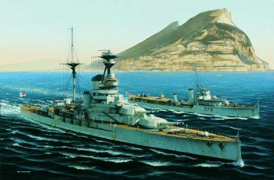HMS Resolution at Gibraltar by Ivan Berryman.