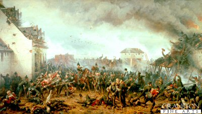 The Defence of Le Haye Saint by the Kings German Legion by Adolf Northern.