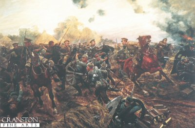 DHM1098.  The First of the European War by Richard Caton Woodville. <p>Captain Grenfell led the 9th Lancers to the action at Audregnies, during the Battle of Mons, against a large body of German infantry who were advancing to encircle the 5th Division.  This action was compared to the Charge of the Light Brigade since it demonstrated great bravery but accomplished little.  Later in the day Grenfell and his men helped to drag away British guns which were in danger of being captured.  In this painting, the artist appears to have combined the two events.  Although not the first action of the Great War for which the Victoria Cross waas to be awarded, Grenfell was the first to be gazetted, that is, officially listed in the London Gazette as a recipient.<b><p> Open edition print.  <p>Image size 25 inches x 15 inches (64cm x 38cm)