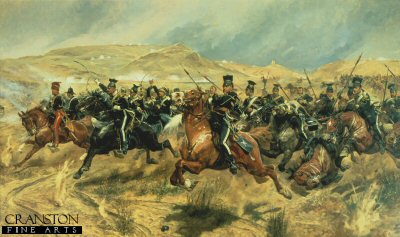 DHM110. The Charge of the Light Brigade by Caton Woodville. <p>The all time classic image of the disastrous  Charge of the Light Brigade which included the 17th lancers, who lead the charge. <b><p> Open edition print. <p> Image size 32 inches x 19 inches (81cm x 48cm)