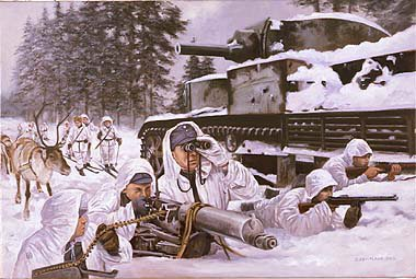P1101. Frozen Hell, Suomussalmi, Finland 1940 by David Pentland. <p> From their position in a knocked out Soviet T28 tank, the Finnish troops keep up the pressure on the encircled enemy units. <b><p>Postcard<p> Postcard size 6 inches x 4 inches (15cm x 10cm)