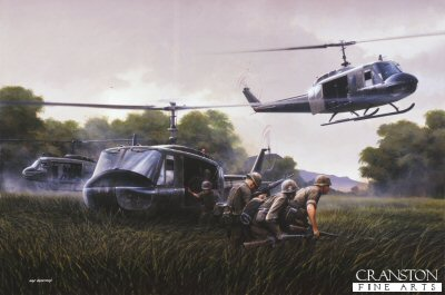 DHM1105.  DZ 9.00am by Ivan Berryman. <p> A trio of Bell Huey UH-1s deliver ARVN Rangers to a drop zone in the central Highlands of Vietnam during 1970. The ubiquitous Huey saw action in an enormous variety of roles, Vietnam being the first true helicopter war, and it will perhaps be remembered by many a grateful GI for its (and its crews) part in many hundreds of daring rescues amid the unyielding and unfamiliar terrain of south east Asia. <b><p> Signed limited edition of 1150 prints. <p> Image size 25 inches x 15 inches (64cm x 38cm)