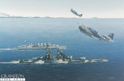 Richelieu and HMS Cumberland 1945 by Ivan Berryman.