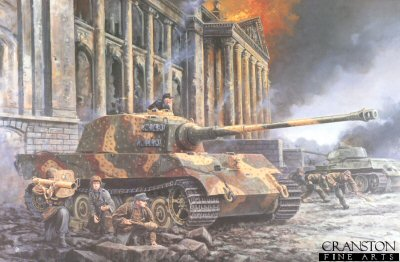 P1109.  Defence of the Reichstag, Berlin, 1st May 1945 by David Pentland. <p>On the 30th April, Untersharfuhrer Georg Diers and his crew of tank 314, were ordered to take up a defensive position at the Reichstag buildings. This was one of only two remaining King Tigers belonging to Heavy SS Tank Battalion 503 in Berlin. By that evening they had knocked out about 30 T34s, and the following day led a successful counterattack against the Kroll Opera House directly opposite the Reichstag. Their efforts though, merely postponed the inevitable and by the end of the day the order was given to abandon the position and prepare to break out of Berlin.<b><p>Postcard<p> Postcard size 6 inches x 4 inches (15cm x 10cm)