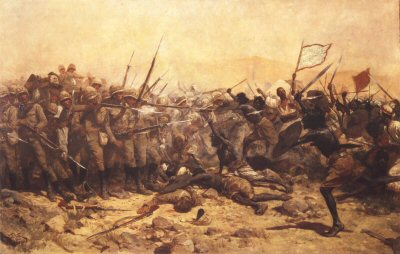 DHM111.  The Battle of Abuklea by William Barnes Wollen. <p>At the moment the Mahdists broke into the corner of the square against the Heavy Camel Regiment. 17th January 1885.  Interesting note: a detachment of two officers and 44 men from the Scots Greys formed part of the Camel Corps in Egypt, and went through the desert march and took part in the battle of Abu Klea. At that affair one officer and 12 men were killed and three more men died of disease. <b><p> Open edition print.  <p>Image size 23 inches x 14 inches (58cm x 36cm)