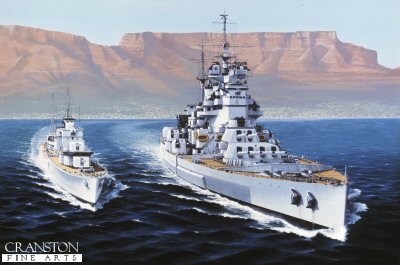 DHM1110.  HMS Howe by Ivan Berryman. <p>Depicted off Capetown with the distinctive skyline of Table Mountain providing the backdrop, the King George V class battleship HMS Howe and her destroyer escort began their journey home having visited New Zealand as well as South Africa following the end of hostilities in 1945. <b><p> Signed limited edition of 1150 prints.  <p>Image size 25 inches x 15 inches (64cm x 38cm)