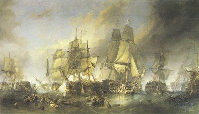 The Battle of Trafalgar by William Clarkson Stanfield.