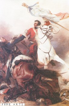 DHM112.  Fight for the Standard by Richard Ansdell. <p> Depicting sergeant Ewart dispatching a French cavalryman on his way back with the Eagle and Standard captured from the French 45th Regiment of Foot. <b><p> Open edition print. <p> Image size 15 inches x 23 inches (38cm x 58cm)