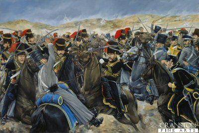 DHM1125. Into the Valley of Death by Brian Palmer. <p>After the charge up the valley and taking huge losses, The Light Brigade crashed through the Russian guns at the end of the valley. They were counter- charged by Russian cavalry. Shown here are the 11th and 8th Hussars engaging the Russian Uhlans and Dragoons. The losses to the Light Brigade were very high - 113 killed, and 134 wounded. General Pierre Bosquet after witnessing the charge remarked - It is magnificent but it is not war. The battle of Balaclava, finally ended leaving Balalcava still in British Hands.<b><p> Signed limited edition of 50 giclee art prints. <p> Image size 26 inches x 16 inches (66cm x 41cm)