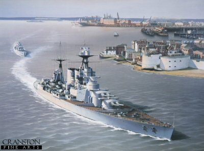 HMS Hood and HMS Express Departing from Portsmouth 1935 by Ivan Berryman