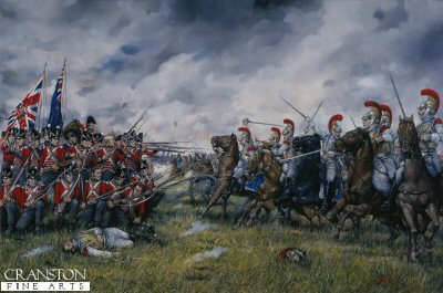 Charge of the 2nd Carabiniers against the Square of the 23rd (Royal Welsh Fusiliers) at the Battle of Waterloo by Brian Palmer.