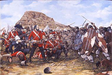 DHM1133AP. Battle of Isandhlwana, 22nd January 1879 by Brian Palmer. <p> Last stand of the 24th South Wales Borderers at Isandhlwana during the Zulu War.  The battle of Isandhlwana, a Zulu victory over the British forces on 22nd January 1879 about 100km north of Durban.  Lord Chelmsford led a column of forces to seek out the Zulu army camped at Isandhlwana, while patrols searched the district.  After receiving a report, Chelmsford set forth at half strength, leaving six companies of the 24th Regiment, two guns, some Colonial Volunteers and a native contingent (in all about 1,800 troops) at the camp.  Later that morning an advanced post warned of an approaching Zulu army.  Shortly after this, thousands of Zulus were found hidden in a ravine by a mounted patrol but as the patrol set off to warn the camp, the Zulus followed.  At the orders of the Camp Commander, troops spread out around the perimeter of the camp, but the Zulu army broke through their defences.  The native contingent who fled during the attack were hunted down and killed.  The remaining troops of the 24th Regiment, 534 soldiers and 21 officers, were killed where they fought.  The Zulus left no one alive, taking no prisoners and leaving no wounded or missing.  About 300 Africans and 50 Europeans escaped the attack.  Consequently, the invasion of Zulu country was delayed while reinforcements arrived from Britain.<b><p> Limited edition of 50 artist proofs.<p>  Image size 25 inches x 15 inches (64cm x 38cm)