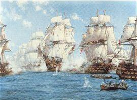The Battle of Trafalgar by Montague Dawson.