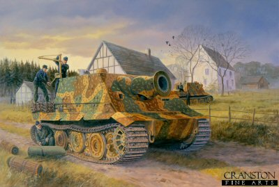 DHM1162AP. Preparing for the Day, the Reichswald, February 1945 by David Pentland. <p> Sturmtigers of Sturmmorser Company 1002, commanded by Lieutenant Zippel, take on ammunition in preparation for the battle to come. These fearsome monsters 38cm rocket projectors could penetrate up to 2.5m of reinforced concrete. Luckily for the Allies only 18 were completed by the wars end. <b><p> Limited editiojn of 50 artist proofs.  <p>Image size 25 inches x 16.5 inches (64cm x 42cm)
