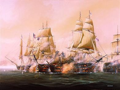 DHM1165.  The Battle of Trafalgar, 21st October 1805 by Ivan Berryman. <p>One of the most decisive battles in the history of the Royal Navy, Nelsons defeat of the French fleet took place on 21st October 1805 off Cape Trafalgar and was conducted with not a single British ship lost, although few ships escaped severe punishment and loss of life on both sides was tragically high<b><p> Signed limited edition of 1150 prints.  <p>Image size 25 inches x 17 inches (64cm x 43cm)