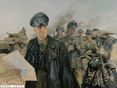 General Erwin Rommel with the Africa Korps before the Battle for Tobruk  by Chris Collingwood. (GL)