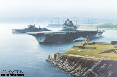 HMS Illustrious and HMS Kenya at Devonport by Ivan Berryman.
