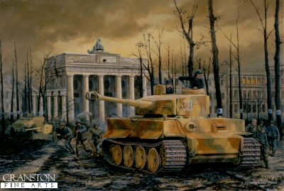 P1178. Tiger at the Gate, Berlin, 30th April 1945 by David Pentland. <p>A Tiger I and PAK 40 anti tank gun of the Muncheberg Division, field a final defence of the capital in front of the Brandenburg Gate under the shattered remains of the famous Linden trees. The under-strength division had just been formed the previous month from a mixture of ad hoc units and various marks of tank. Despite this it put up a spirited fight until its final destruction in early May.<b><p>Postcard<p> Postcard size 6 inches x 4 inches (15cm x 10cm)