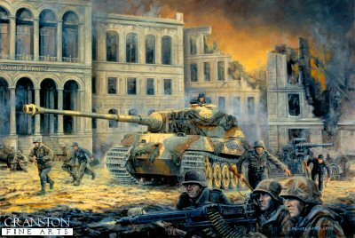 P1179.  The Last Battle, Berlin, 30th April 1945 by David Pentland. <p>Unterscharfurher Karl-Heinz Turk of the Schwere SS Panzerabteilung 503, in one of the units few remaining Kingtigers, defends the Potsdammer Platz along with elements of the Munchberg Division against the rapidly encroaching Soviet forces.<b><p>Postcard<p> Postcard size 6 inches x 4 inches (15cm x 10cm)