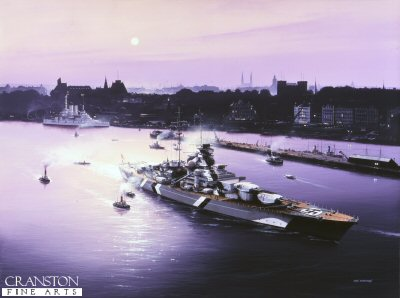 DHM1180.  Bismarck at Hamburg by Ivan Berryman. <p> Bismarck, now complete and newly painted in full Baltic camouflage, returns to Hamburg for the last time as the harsh winter of 1940/41 relents and the pride of the German Kriegsmarine prepares for real action. In the distance, the pre-Dreadnought Schleswig-Holstein awaits her next commission, the old ship alternating between vital ice-breaker and air defence duties at this time. <b><p> Signed limited edition of 1150 prints.  <p>Image size 25 inches x 17 inches (64cm x 43cm)