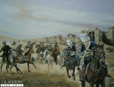 P1186. Sabres and Dust by Chris Collingwood. <p> British light cavalry and horsemen of Skinners Horse fight Pindarn and Maratha 1826. <b><p>Postcard<p> Postcard size 6 inches x 4 inches (15cm x 10cm)