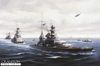 DHM1188. The Channel Dash by Ivan Berryman. <p> February 1942 and Viz. Admiral Ciliaxs mighty Scharnhorst leads her sister Gneisenau and Prinz Eugen up the English Channel during Operation Cerberus, their daring breakout from the port of Brest on the French Atlantic coast to the relative safety of Wilhelmshaven and Brunsbuttel. All three ships survived what became known as the Channel Dash, not without damage, but the operation proved a huge propaganda success for Germany and a crushing embarrassment for the British. A number of torpedo boats are in attendance, including Kondor and Falke and the Z class destroyer Friedrich Ihn in the distance. <b><p> Signed limited edition of 1150 prints.  <p>Image size 25 inches x 15 inches (64cm x 38cm)