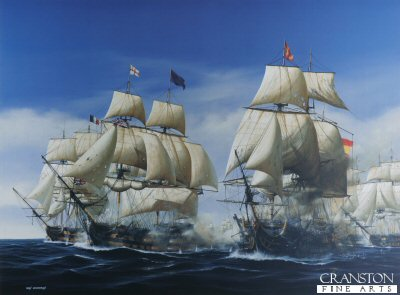 DHM1189.  The Battle of Trafalgar - The First Engagement by Ivan Berryman. <p>Midday, 21st October 1805, and Admiral Collingwoods flagship, the 100-gun HMS Royal Sovereign, breaks the allied line and delivers a shattering broadside on the Spanish flagship Santa Anna. Making great speed, Collingwoods ship had breached the Franco-Spanish line some distance ahead of the rest of his van and the Royal Sovereign suffered heavily as she quickly drew the attentions of three French and three Spanish ships. To her starboard, the French Indomitable can be seen firing into the British flagship while, astern of the Santa Anna, Belleisle and Fougueux are engaging ahead of Mars, Monarca and Pluton.<b><p>Signed limited edition of 1150 prints. <p> Image size 25 inches x 17 inches (64cm x 43cm)