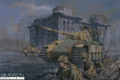 DHM1196. Panther at the Zoo, Tiergarten, berlin, 2nd May 1945 by David Pentland. <p> Below the vast bulk of the Zoo Bunker one of three giant Flak towers designed to defend Berlin from air attack, some remnants of the citys defenders gather in an attempt to break out of the doomed capital. Amongst which are troops from the 9th Fallschirmjager and Munchberg Panzer Divisions, including a rare nightfighting equipped Panther G of Oberleutnant Rasims Company, 1/29th Panzer Regiment. <b><p> Signed limited edition of 1150 prints.  <p>Image size 25 inches x 16.5 inches (64cm x 42cm)