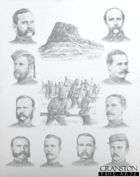 DHM1201. Battle of Isandhlwana 22nd January 1879 (Major Figures of the Battle) by Stuart Liptrot <p>The centre drawing shows the last groups of soldiers of the 24th South Wales Borderers at Isandhlwana during the last of the battle as the force consisting of 2 guns and 70 men of N Battery, 5th Brigade, Royal Artillery, 5 companies of 1st Battalion, the 24th Foot, 1 company of 2nd Battalion, the 24th Foot, Mounted volunteers and Natal Police and two companies of the Natal Native Infantry is overrun by superior numbers of Zulu warriors.  Surrounding the centre drawing are portraits of some of the main figures.  These are from top left : Lieutenant Colonel H B Pulleine 24th Regt, Lieutenant N J A Coghill 1/24th Regt, Quartermaster E Bloomfield 2/24th Regt, Captain R Younghusband 1/24th Regt, Private S Wassall VC 80th Regt, Brevet Major S Smith Royal Artillery, Brevet Colonel A W Durnford Royal Engineers, Lieutenant T Melville VC 1/24th Regt, Lieutenant H Smith-Dorrien 95th Regt and Lieutenant C D Pope 2/24th Regt.  The losses during the battle were 52 British officers and 806 non-commissioned ranks and 471 Africans died fighting for the British.  Zulu warrior dead were around 2,000 dead either on the field or from wounds.  There were only around 60 Europeans who survived the battle.<b><p> Signed limited edition of 1150 prints. <p> Image size 12 inches x 20 inches (31cm x 51cm)