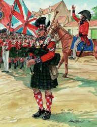 DHM1207.  Piper of the 92nd Highlanders at Waterloo by Alan Herriot. <p>Sir Edward Barnes mustering the 92nd Highlanders, before the Battle of Waterloo. <b><p> Signed limited edition of 1150 prints. <p> Image size 12 inches x 17 inches (31cm x 43cm)