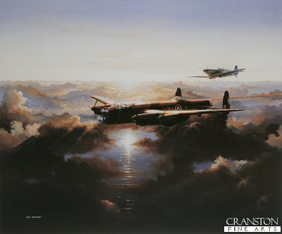 DHM1210B. Nursing Her Home by Ivan Berryman. <p> Lancaster of 50 Squadron being escorted home by Spitfires. 50 Squadron were based at Swinderby. <b><p>Signed by Reg Davie. <p>Signed limited edition of 100 prints. <p> Image size 24 inches x 19 inches (61cm x 48cm)