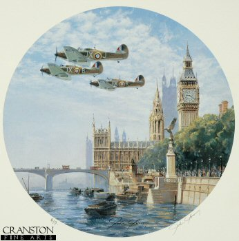DHM1214AP.  Hurricanes over the Houses of Parliament by John Young. <p>Hurricanes of No.1 Sqn fly over the famous London landmark.<p><b>Last few copies available.</b><b><p>Signed by Group Captain Byron Duckenfield AFC (deceased)<br>and<br>Squadron Leader Maurice P Brown (deceased). <p>Limited edition of 20 artist proofs.  <p>Paper size 14 inches x 16 inches (36cm x 41cm)