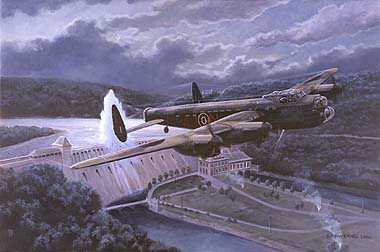 DHM1217. Target Y The Eder Dam Raid, The Ruhr Valley, 17th May 1942 by David Pentland. <p> At 0154am, Pilot officer Les Knight in Avro Lancaster AJ-N transmitted the codeword Dinghy, the signal that the Eder Dam had been successfully breached. Although the target was undefended by flak, its location made it extremely difficult to hit. In fact, four of the five aircraft involved in the attack failed in their attempts and Knights was the last available aircraft carrying the last available bomb! <b><p> Signed limited edition of 500 prints. <p>Image size 20 inches x 14 inches (51cm x 35cm)